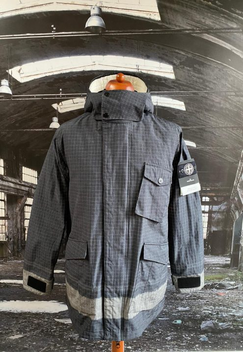 STONE ISLAND REFLECTIVE RIPSTOP CHINÉ WITH DETACHABLE LINING JACKET