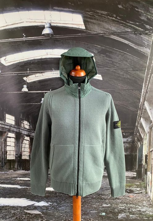 STONE ISLAND LAMBSWOOL CARDIGAN WITH RESIN TREATED NYLON CANVAS HOOD