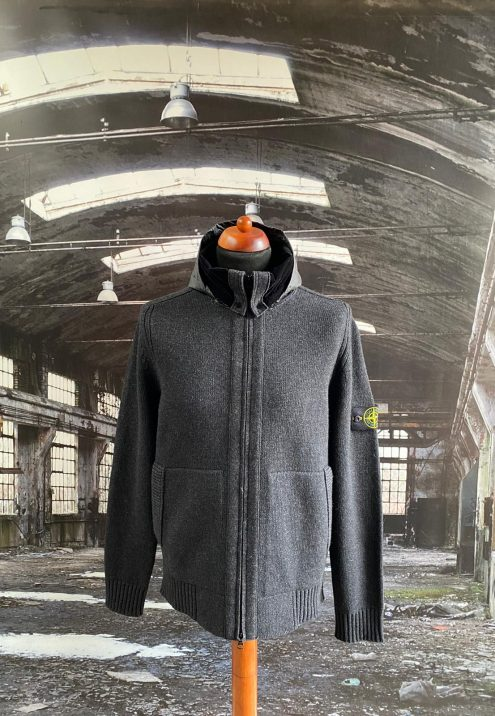 STONE ISLAND FULL ZIP WOOL HOODED SWEATSHIRT